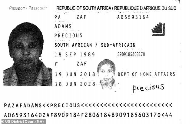 Musau used fake passports (pictured above) to open bank accounts in the Boston area to collect and launder the proceeds of the romance scams