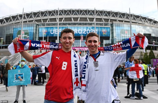 England and Czech fans arrive at Wembley Stadium ahead of the UEFA EURO 2020 at Wembley, with kick-off at 8pm