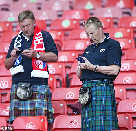 Some of the Tartan Army were seen dressed in kilts at the stadium on Tuesday night