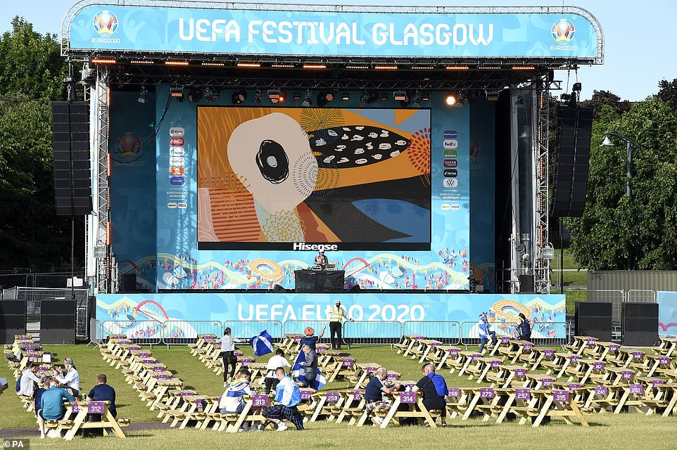 Meanwhile, tables have been set out at the Glasgow fan zone this afternoon, with the big screen ready to show the Scotland match against Croatia