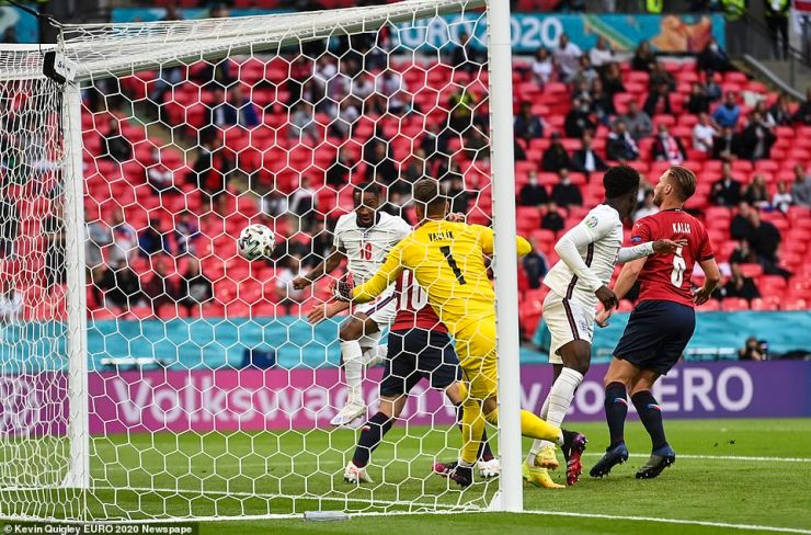 The 5ft 7in winger was alone at the back post to head in Jack Grealish's looping cross and capitalise on England's quick start
