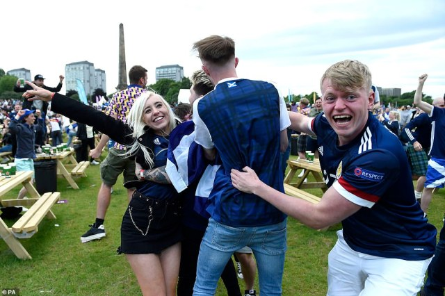 It was jubilation for Scotland fans as Scotland's Callum McGregor scores Scotland's first goal at the European Championships in 25 years