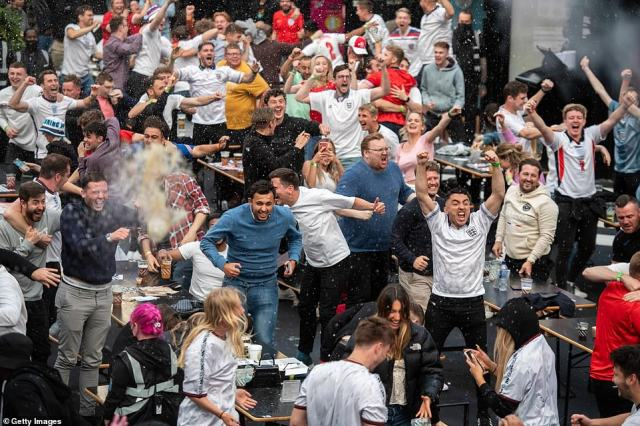 Fans at Box Park in Croydon throw beer in the air as England score an early goal in their final Euro 2020 group game against Czech Republic