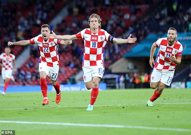 The 35-year-old midfielder scored a stunning strike to give Croatia the lead in the second half