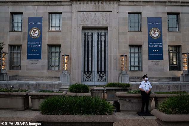The Department of Justice, seen here, has not officially announced the seizures of the sites