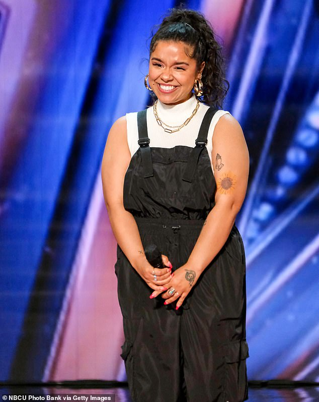 Longtime dream:Brooke Simpson, 30, a member of the Haliwa-Saponi tribe of Native Americans who grew up in Hollister, North Carolina, told Simon that it was a dream of hers since age 16 to sing in front of him