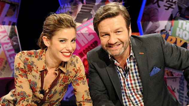 Slammed: 'I thought the ABC started to run scared for a while,' he said, adding that despite external pressures the quality of its programming has improved over the past year. Pictured with actress Brooke Satchwell