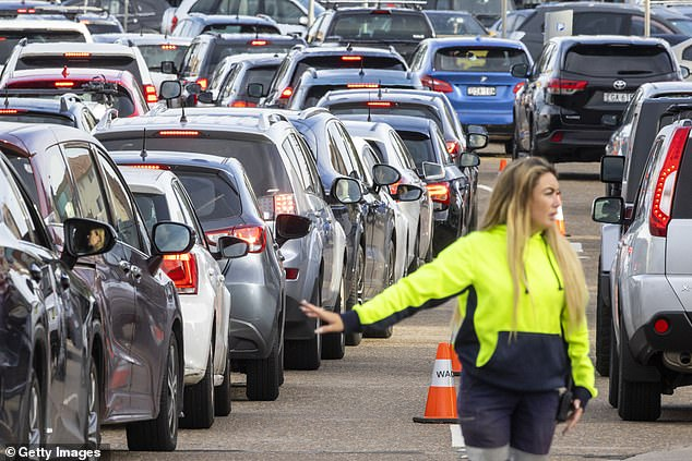 Health officials had found 10 local cases in the 24 hours to 8pm on Tuesday night - nine of which had already been announced. Pictured: Bondi Beach Drive-through COVID-19 Clinic