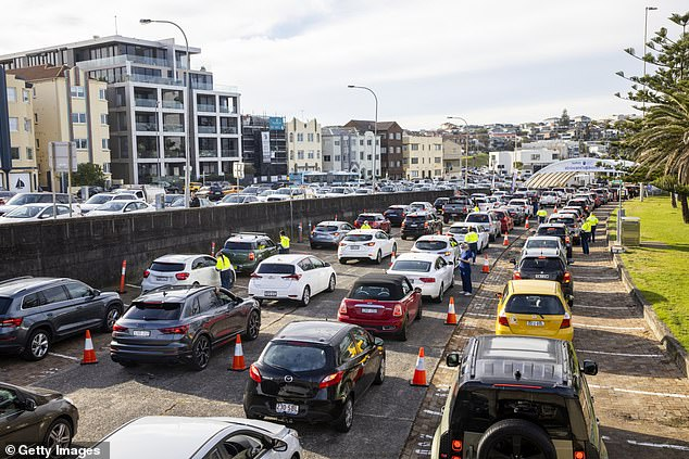Sydney's eastern suburbs cluster has ballooned to 31 after 13 new Covid cases were recorded overnight. Pictured: The Bondi Beach Drive-through COVID-19 Clinic with long lines stretching along Campbell Parade on June 23