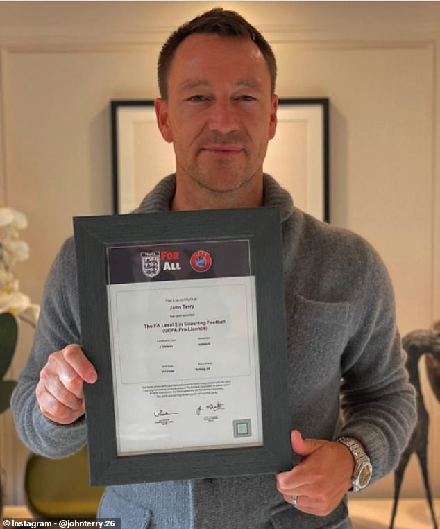 John Terry posted an Instagram with his certificate after completing his UEFA Pro Licence