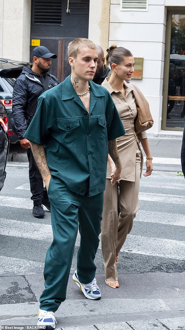 Justin Bieber, 27, and wife Hailey, 24, both wore khaki as they to a lunch date at theMaison du Caviar restaurant on Tuesday after meeting French President Emmanuel Macron on Monday