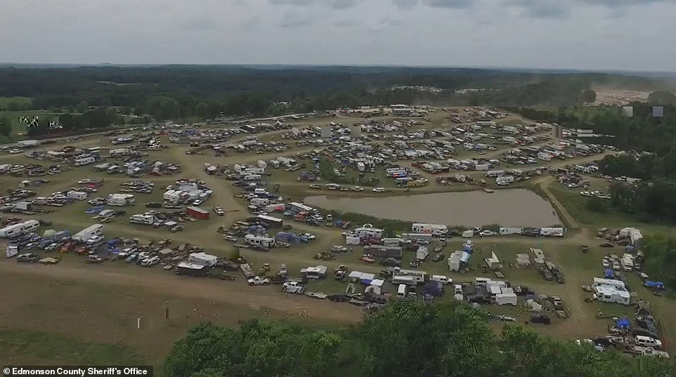 The local sheriff said he ended up making the decision to try and contain the illegal activity to the park because he did not have enough staff to try and stop it. Pictured is an aerial view of the festival