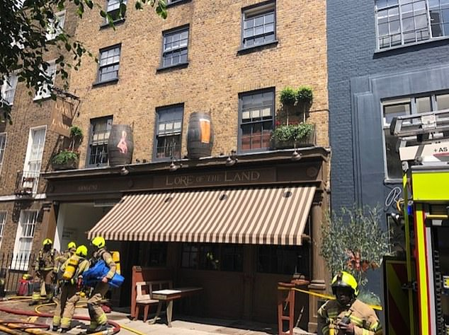 A blaze broke out at Guy Ritchie's Camden pub on Wednesday (pictured the front of the venue)