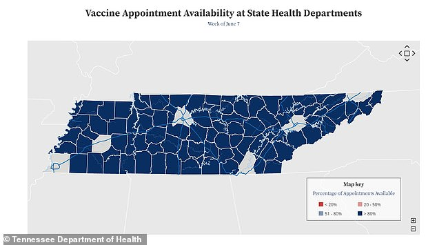 In Tennessee, just 41.3% of residents have at least one shot and 36% are fully vaccinated, and, in most counties, 80% of vaccine appointments are available