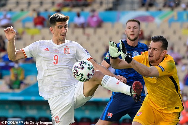 Dubravka (right) was also at fault for Spain's second goal by coming out of his goal too much