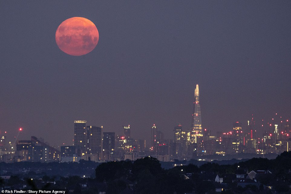 The supermoon, named for the fact it comes when the natural satellite is in its closest point in its orbit with Earth, was due to reach its peak brightness before sunset yesterday but was already visible over London on Wednesday - as seen in this image