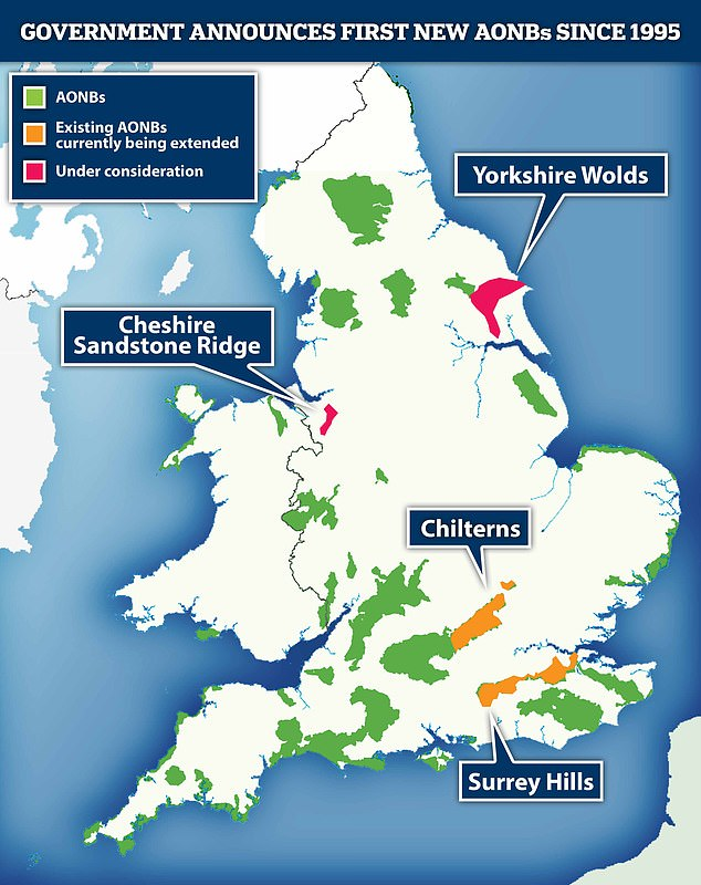 Yorkshire Wolds and Cheshire Sandstone Ridge are 'under consideration' as AONBs, while Surrey Hills and Chilterns AONBs are set to be extended