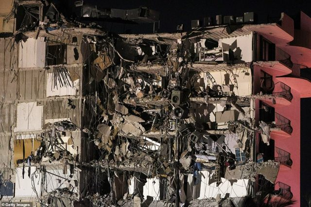 A portion of the 12-story condo tower crumbled to the ground during a partial collapse of the apartment block. It is unknown at this time how many people were injured as search-and-rescue effort continues