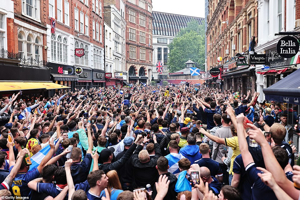What social distancing? There was little room for space in Leicester Square as Scotland fans took over the capital's famous West End ahead of their crunch tie against England last Friday