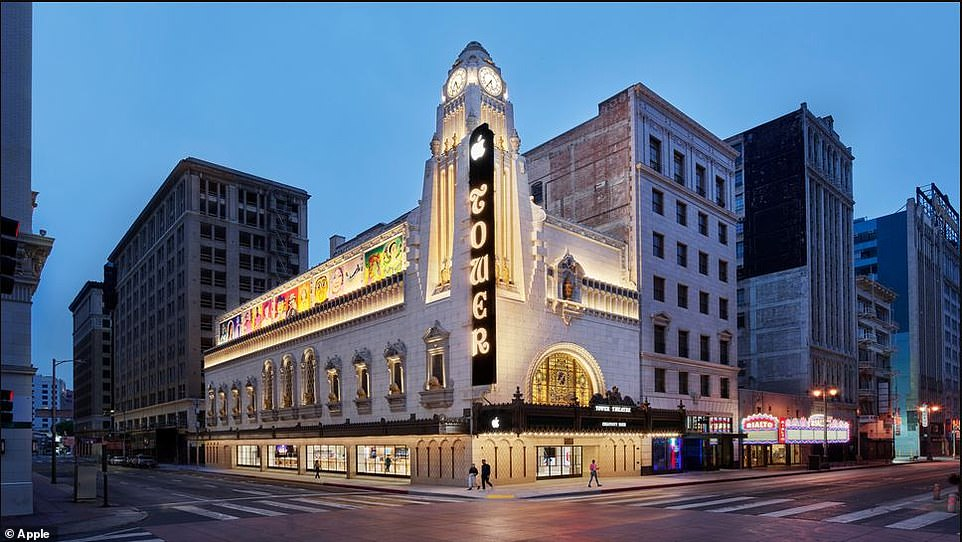 Tower Theatre in Los Angeles was the first to introduce residents to 'talkie' movies 1927, but now it is showcases iPhones and Genius Bars
