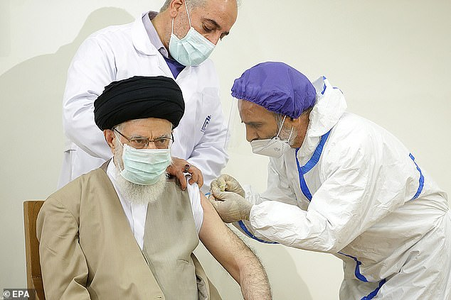 Iran's supreme leader Ayatollah Ali Khamenei on Friday received the first dose of a domestically produced coronavirus vaccine, his social media announced, as the country battles the Middle East's deadliest outbreak