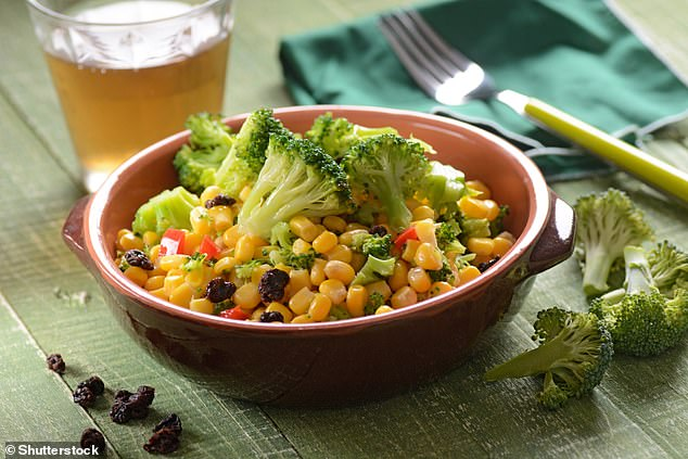 For the study, children agedthree to five were given lunch with four differentpreparations of veg - broccoli and corn (stock image)