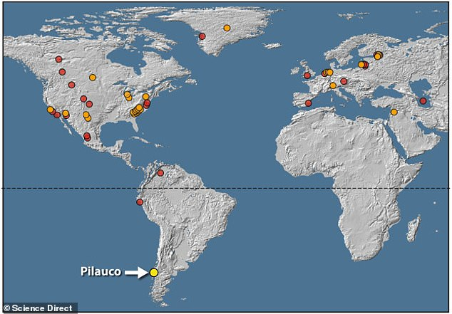 There are 28 spots around the world (orange dots) that have platinum deposits similar to what was located in South Africa, suggesting that a plume of dust laden with platinum was sent into the air. The 24 red dots have impact craters but don't have heavy platinum measures