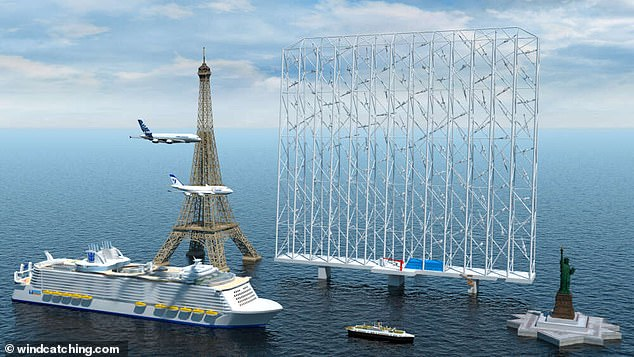 The Windcatcher would be like a 'wall' of traditional wind turbines, able to go faster, taking up less space and avoiding any harm to wildlife. It would be taller than the Eiffel Tower or Statue of Liberty and longer than the QE2