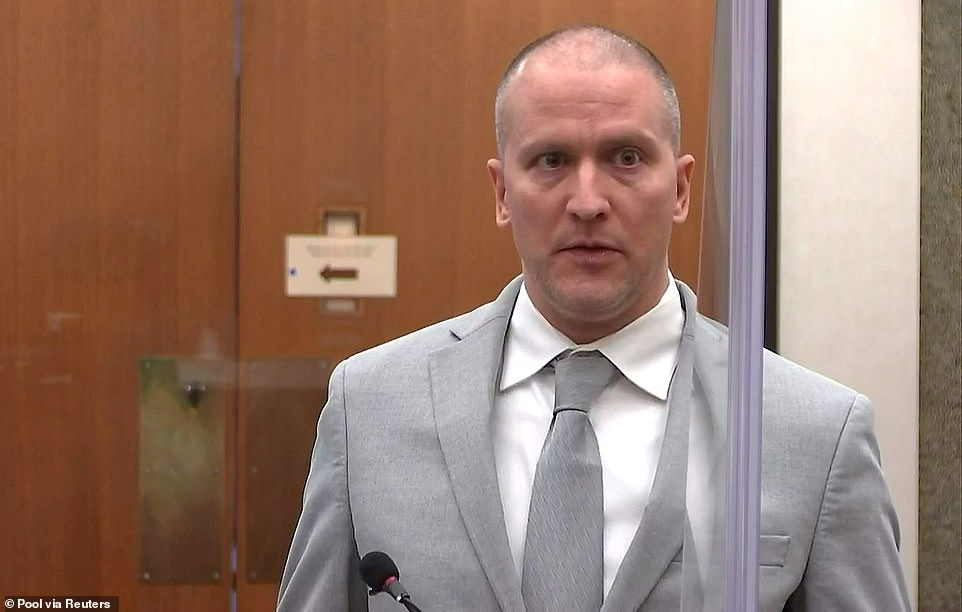 Former Minneapolis police officer Derek Chauvin addresses his sentencing hearing and the judge as he awaits his sentenceon Friday