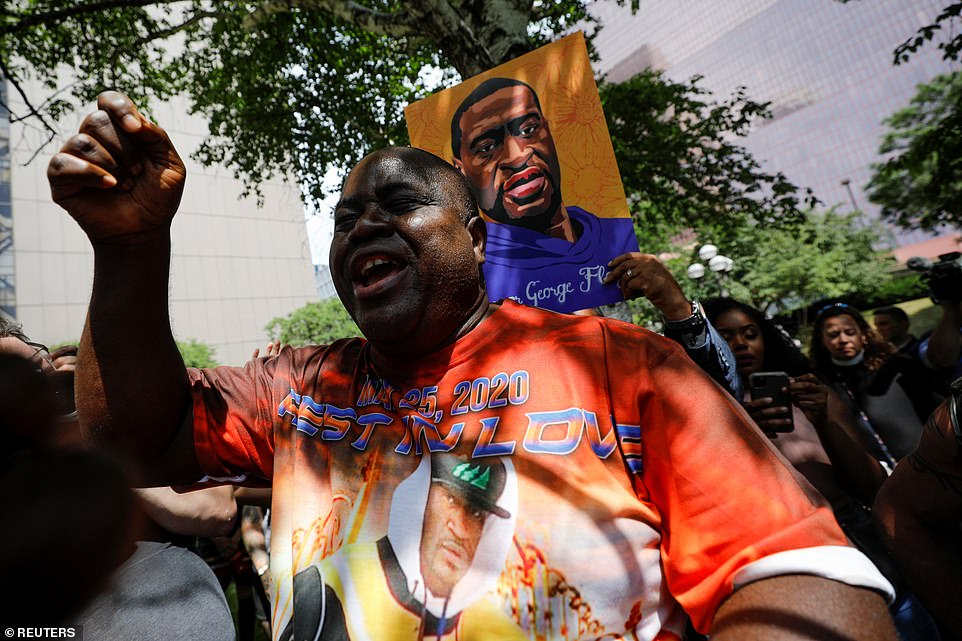 Bishop Harding Smith reacts outside Hennepin County Government Center after the sentence on former police officer Derek Chauvin who was sentenced for murdering George Floyd, in Minneapolis, Minnesota