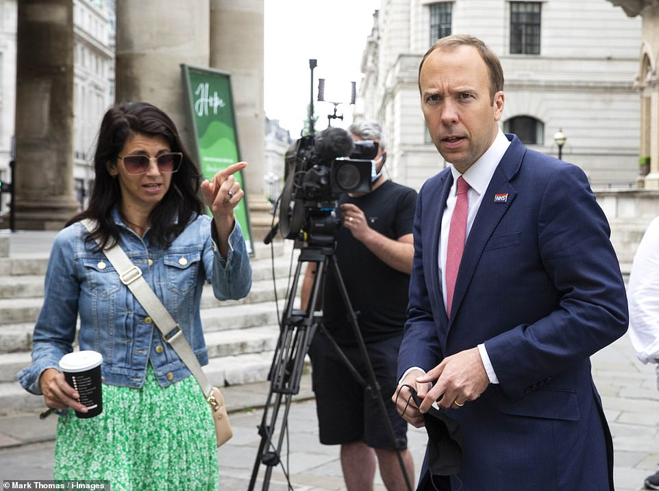 Matt Hancock with Mrs Coladangelo leaving the BBC studios after appearing on The Andrew Marr Show earlier this month