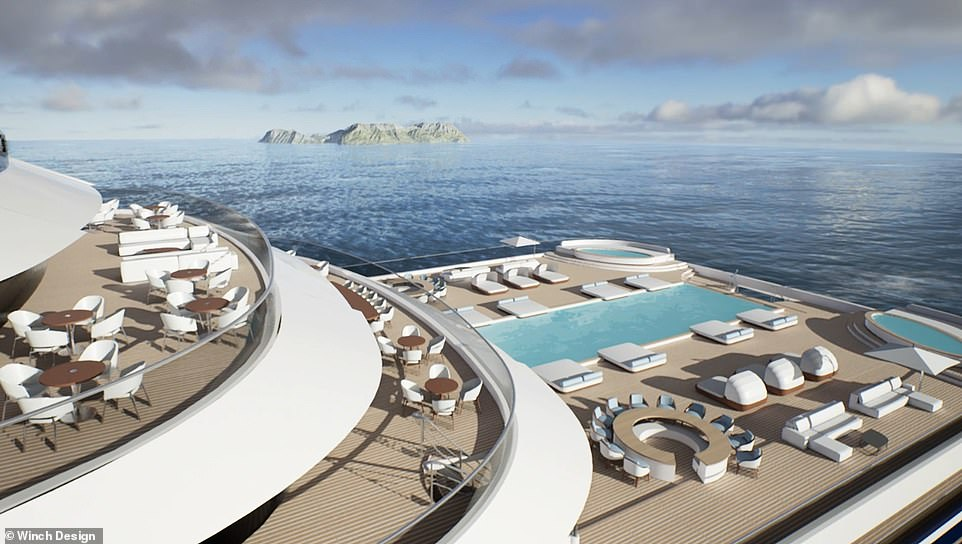 Somnio will serve as a floating condo for the super-rich, offering 39 ultra-luxury apartments starting at 9.5million euros (£8.1million/$11.2million)