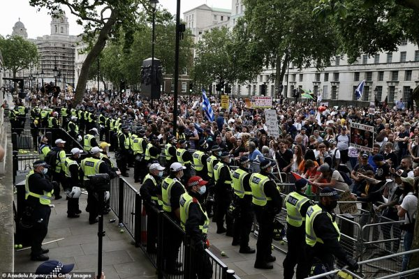 Members of the demonstration began dispersing at around 4pm, although many dedicated marchers still remain outside Downing Street and in Parliament Square