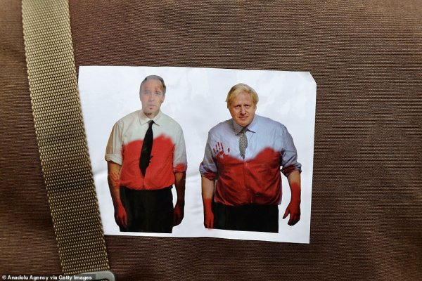 Some of the protest material featured this image of Matt Hancock and Boris Johnson with blood on their hands