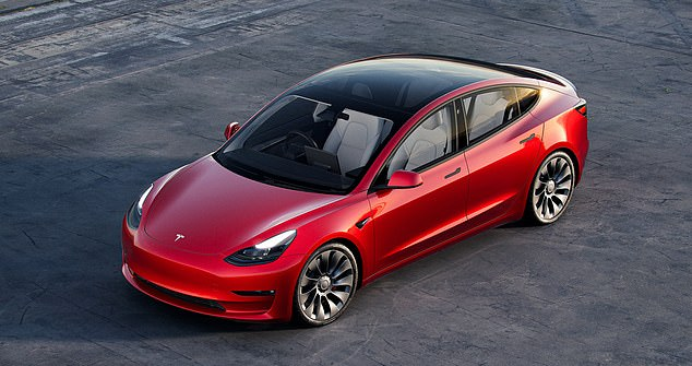 A GM representative admitted 'plant security inadvertently thought the Tesla was a foreign car and wrote a ticket accordingly.' Pictured: A Tesla Model 3