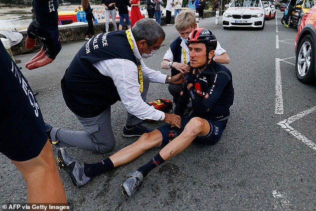 It was another day of crashes as 2018 winner Geraint Thomas hit the ground with a bad fall