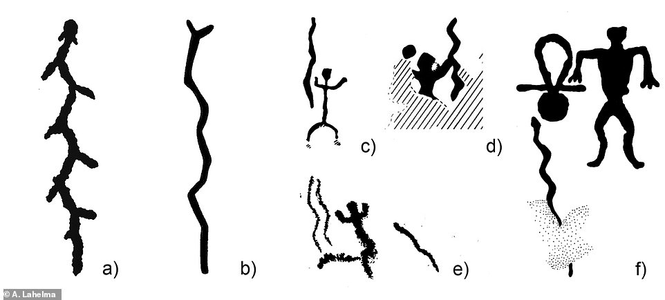 Contemporary rock art shows snake-shaped objects being held by human-like figures, which could indicate the carving was a Stone Age shaman¿s staff for rituals. Pictured, depictions of snakes in North European Neolithic rock art - a) Lake Onega; b) Kola Peninsula; c¿e) Finland; f ) White Sea (figure by A. Lahelma).