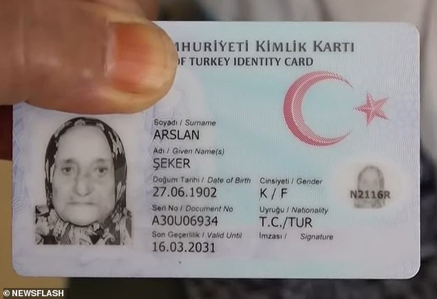 According to her driving license (pictured), Arslan was born on June 27, 1902, making her 119
