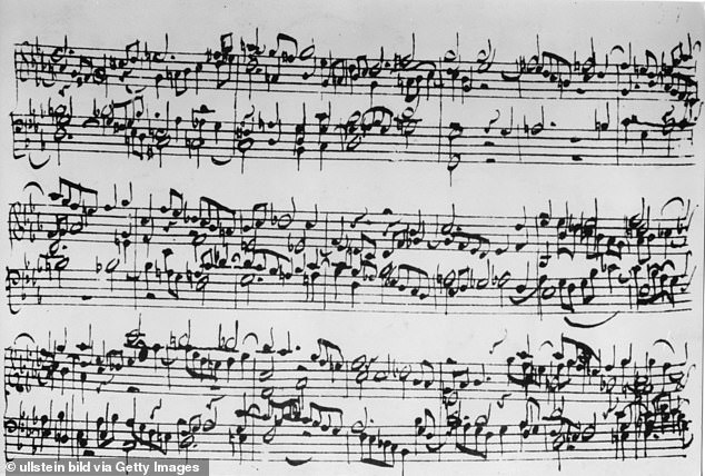Musicologist Peter Kupfer of the Southern Methodist University in Texas concluded that Bach's works — specifically those in the solo–prelude style — are most commonly presented alongside messages of reassurance. Pictured: musical notation of a Bach piece