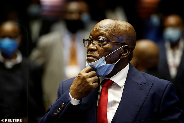South Africa's former president Jacob Zuma (pictured in May) has been sentenced to 15 months in jail for contempt of court.South Africa's top court on Tuesday found Zuma, 79, guilty following his refusal to appear before a graft panel.