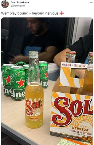 England fans on trains down to London for tonight's clash against Germany