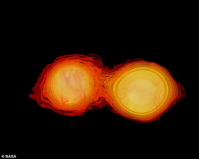 Collision: Black holes have for the first time been detected swallowing neutron stars 'like Pac-Man', scientists have said.An image of two neutron stars colliding is pictured