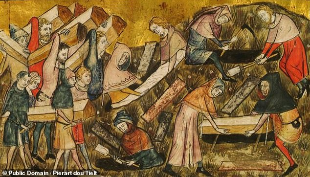 Pictured, a depiction of plague victims being buried during the Black Death. The devastating bubonic plague pandemic ravaged Europe from 1346 to 1353