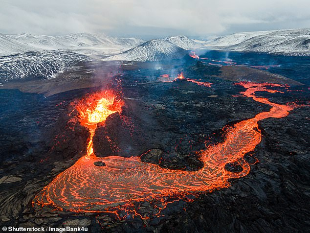 'Until now Iceland has puzzled geologists as existing theories that it is built of — and surrounded by — oceanic crust are not supported by multiple geological data,' explained study leader and geophysicist Gillian Foulger of Durham University. Pictured: an active lava flow on Iceland'sMount Fagradalsfjall