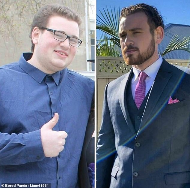 A man believed to be from Australia shared his weight loss journey between the ages of 18, left, and 23, right, where he'd slimmed down and grown a beard