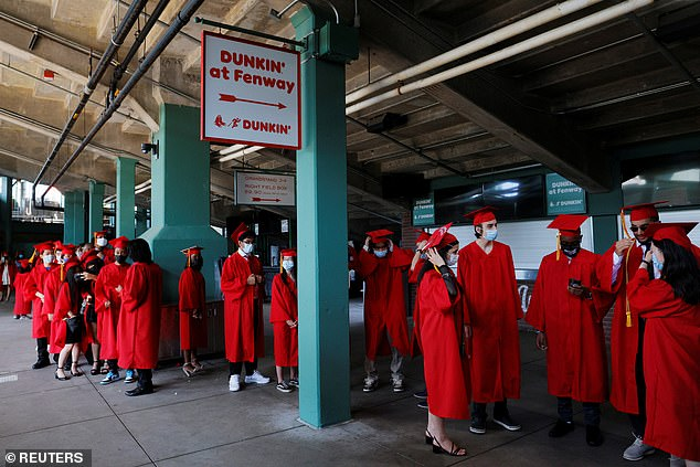 High school students were less likely to have a fully in-person option compared with younger students. Pictured: High school seniors wait to begin their graduation ceremony at Fenway Park in Boston, Mass.