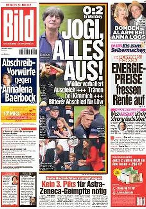Bild showed off the emotion of players and fans following the 2-0 defeat at Wembley