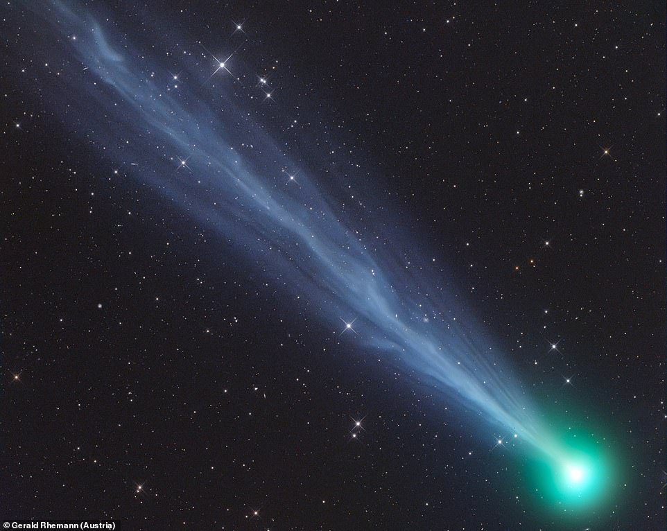 The Exceptionally Active Ion Tail of Comet 2020F8 SWAN is seen in this image by Gerald Rhemann