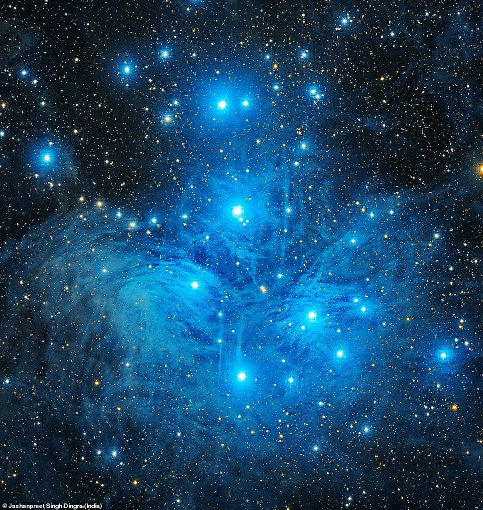This bright blue shining image of the Pleiades, also known as the Seven Sisters, was taken by Jashanpreet Singh Dingra. It features an open star cluser with middle aged hot stars