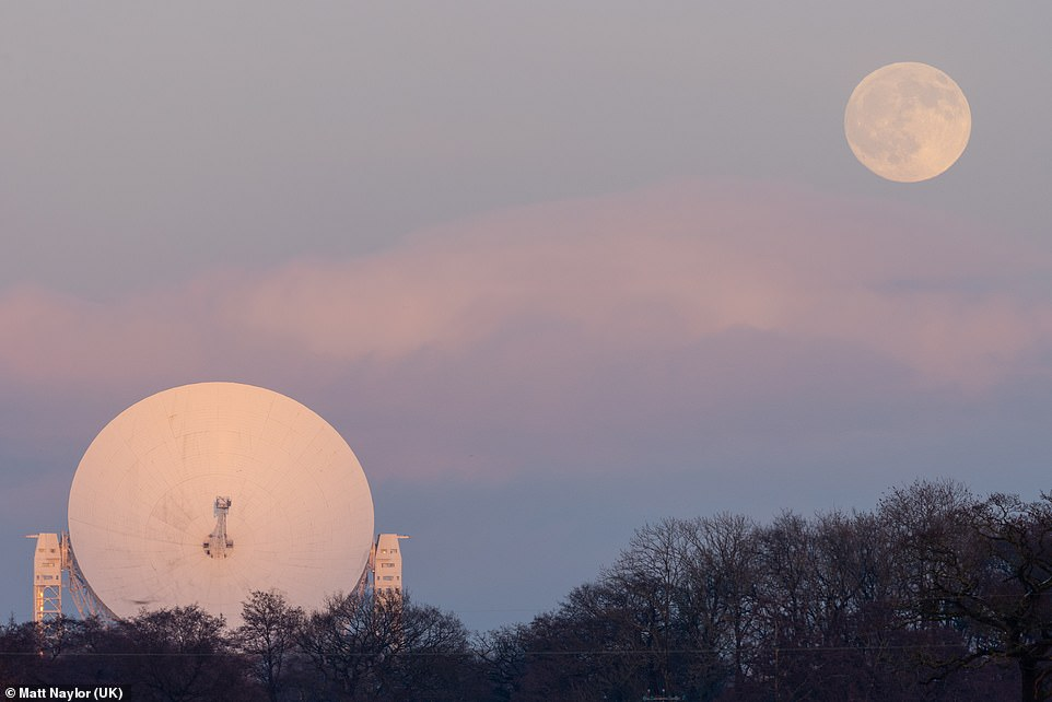 Jodrell Bank is one of the most famous radio telescopes in the world and this image, by Matt Naylor, shows the iconic dish being overlooked by the moon